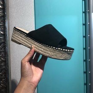 Shoes - NWT- Black Suede Espadrilles Platform Comfy Sandal